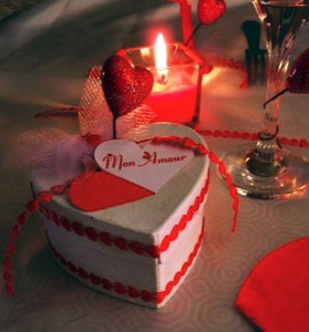 bougie deco table saint valentin